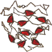 Accessocraft Red Glass Petal Butterfly Wing Sautoir Necklace ~ 29""