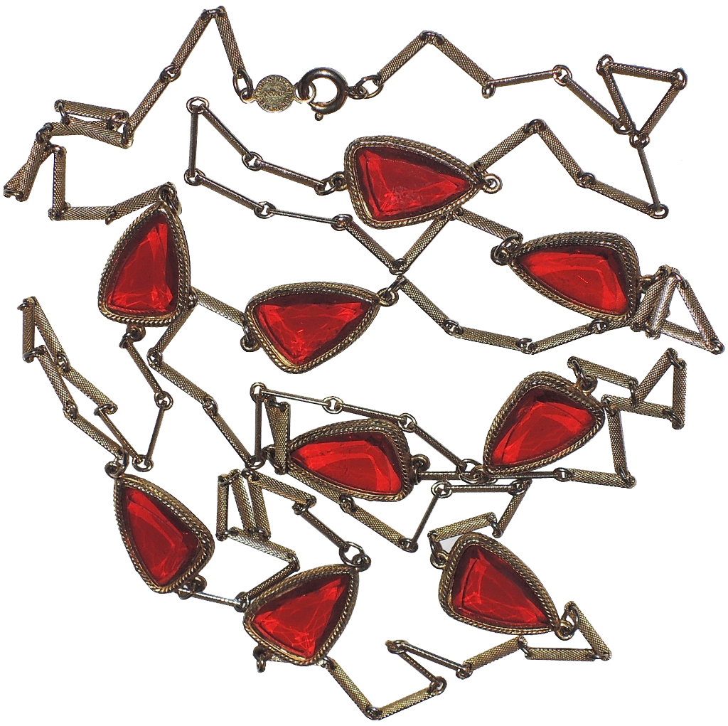 """Accessocraft Red Glass Petal Butterfly Wing Sautoir Necklace ~ 29"""""""