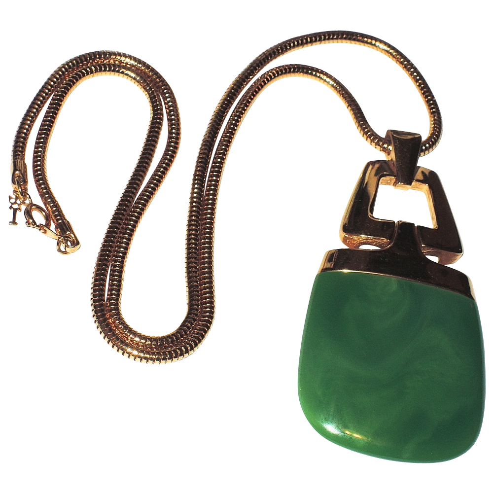 Trifari 70s Lanvin-style Jade Green Lucite Pendant Necklace, Book Piece