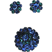 Kramer of New York Inverted Glass Stones Dome Brooch & Earrings