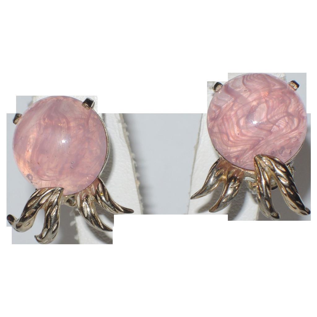 Jomaz Signed Pink Givre Art Glass Earrings