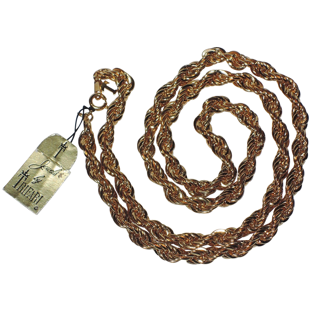 "Trifari 1970's Gold Plated Twisted Rope Necklace 24"" ~ Mint Condition"