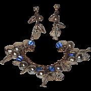 Accessocraft N.Y.C. 1960's Shell & Fish Charm Bracelet & Earrings