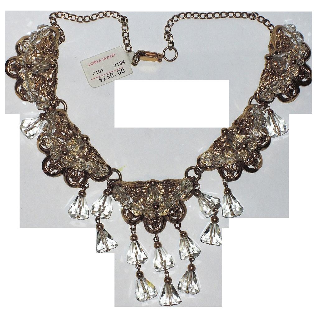 Napier 1955 Drippy Crystal Necklace ~ Eugene Bertolli, Book Piece