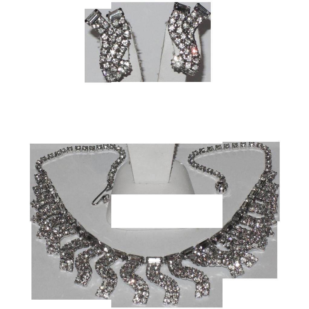 Weiss 1950's Wavy Rhinestone Necklace & Earring Set