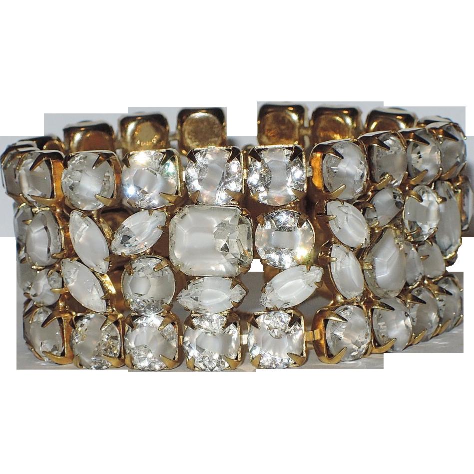 Hattie Carnegie Clear-White Givre Glass Bracelet