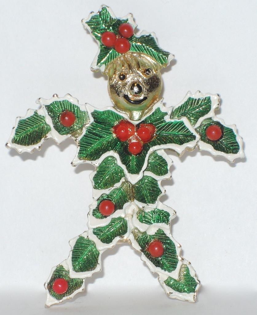RARE Beatrix Signed Christmas Holly Man Pin ~ Book Piece