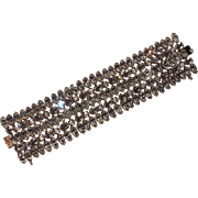 "Schreiner of New York Clear Rhinestone Bracelet, 1 5/8"" Wide"