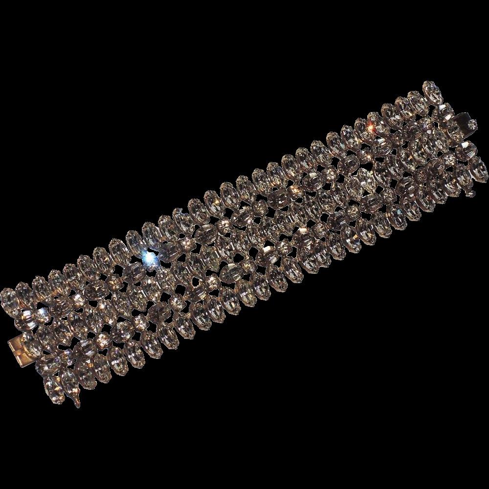 """Schreiner of New York Clear Rhinestone Bracelet, 1 5/8"""" Wide"""