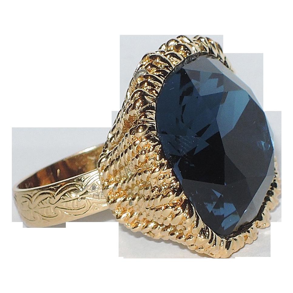 Napier 1960's Sapphire Blue Hope Diamond Cocktail Ring, Mint, VERY RARE Book Piece