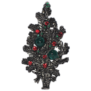 Austria Signed Topiary Christmas Tree Pin ~ Book Piece