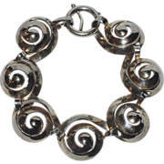 Napier 1940's Sterling Silver Swirl Bracelet, Book Piece