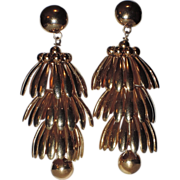 Napier 1950's HUGE Golden Umbrella Chandelier Earrings ~ Book Piece