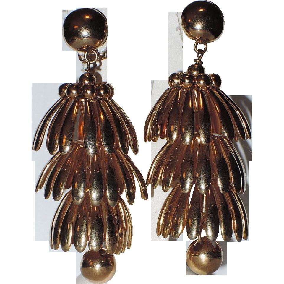 Napier 1950's HUGE Golden Umbrella Chandelier Earrings ~ Book Piece