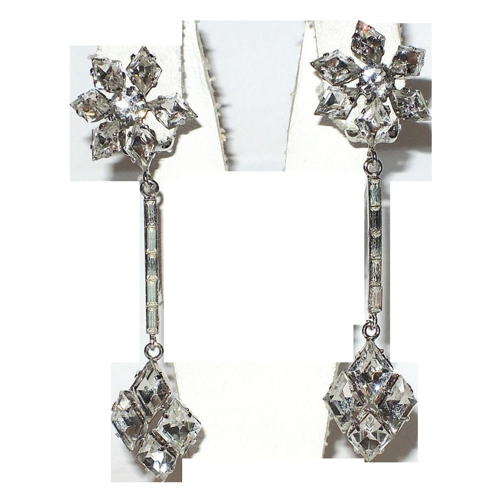 1950's Diamond Rhinestone & Baguette Drop Earrings