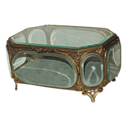 """Large Antique 19th Century French Jewelry Casket ~ 9.5"""" X 6.5"""""""