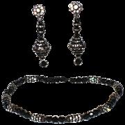 Accessocraft N.Y.C. 1960's Japanned Rhinestone & Jet Bead Necklace & Earring Set