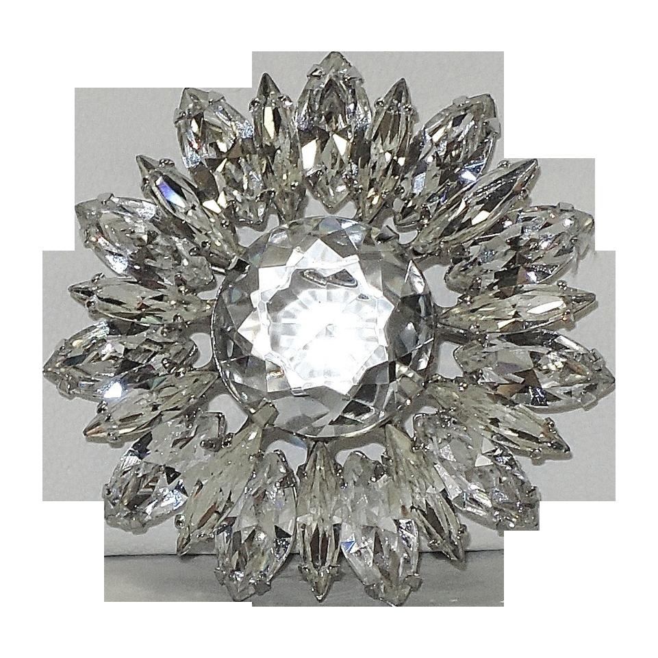 Regency Icy Clear Glass & Rhinestone Brooch, Mint-y