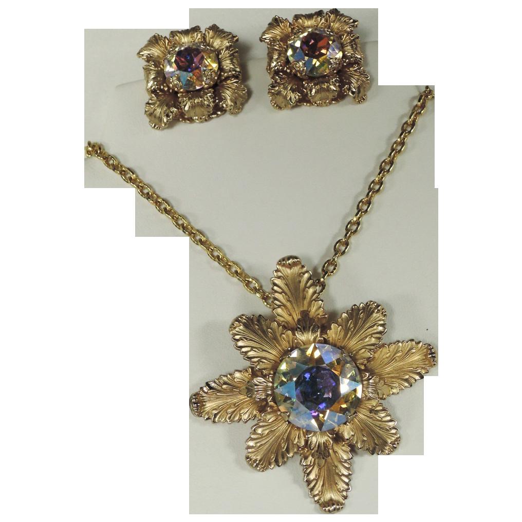 Napier 1968 Eugene Bertolli Designer of the Year Award Pin/Pendant & Earring Set