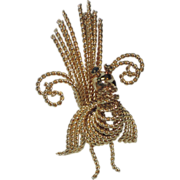 A & Z Peacock (Turkey?) 12K Gold Filled Brooch, 1950's