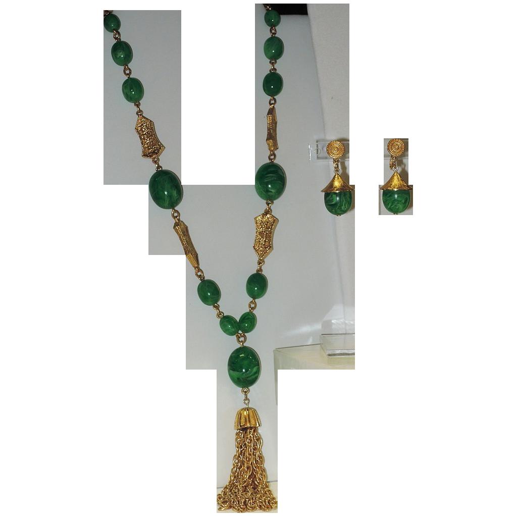 RARE Trifari L'Orient Sautoir Tassel Necklace & Coolie Hat Earring Set