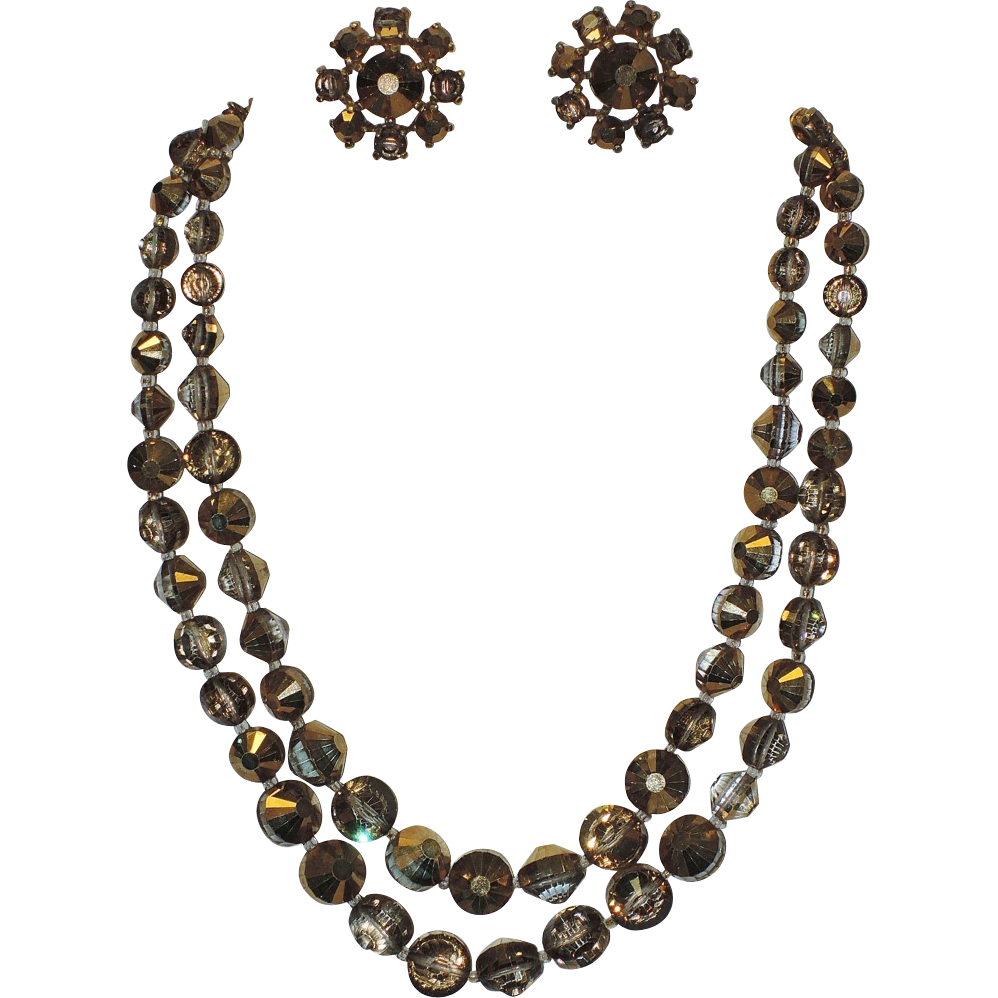 Castlecliff Pre-1955 2-Strand Gold-Topaz Swarovski Nailhead Crystal Necklace & Earring Set