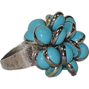 Turquoise Glass & Sterling Silver Fringe Ring, Vintage 1970's ~ 7.75-8.25 US