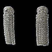 RARE Napier 1970's Crescent Waterfall Rhinestone Earrings ~ Pierced