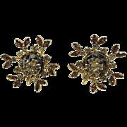RARE Vendome 1950's Hematite Rhinestone Floral Motif 3D Earrings
