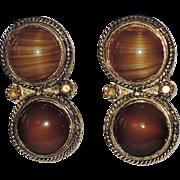 RARE Accessocraft N.Y.C. Etruscan Revival Art Glass Earrings