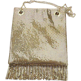 Whiting & Davis 1970's Gold Mesh Fringe Purse ~ Near Mint