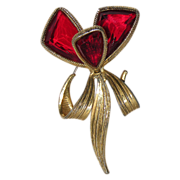 Accessocraft N.Y.C. 1960's Red Glass Butterfly Wing Flower Brooch