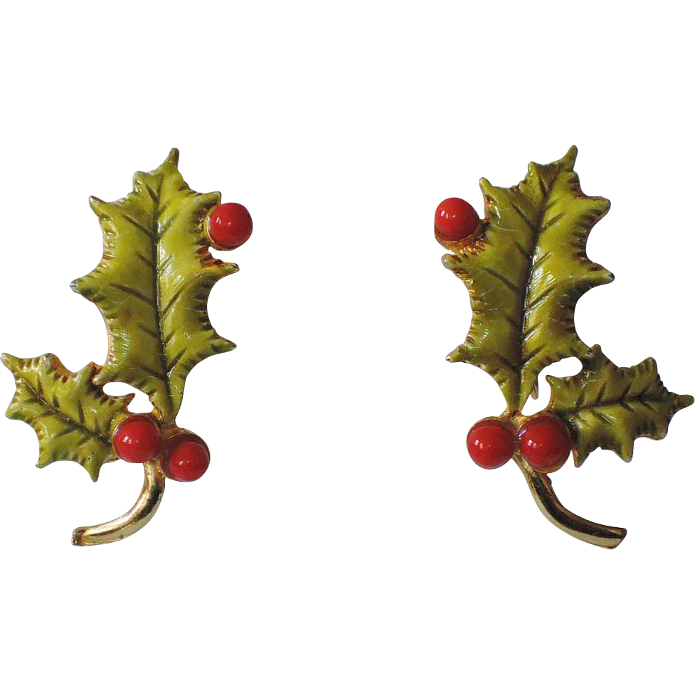 accessocraft n y c 1960 u0027s holly berry 3d leaves christmas
