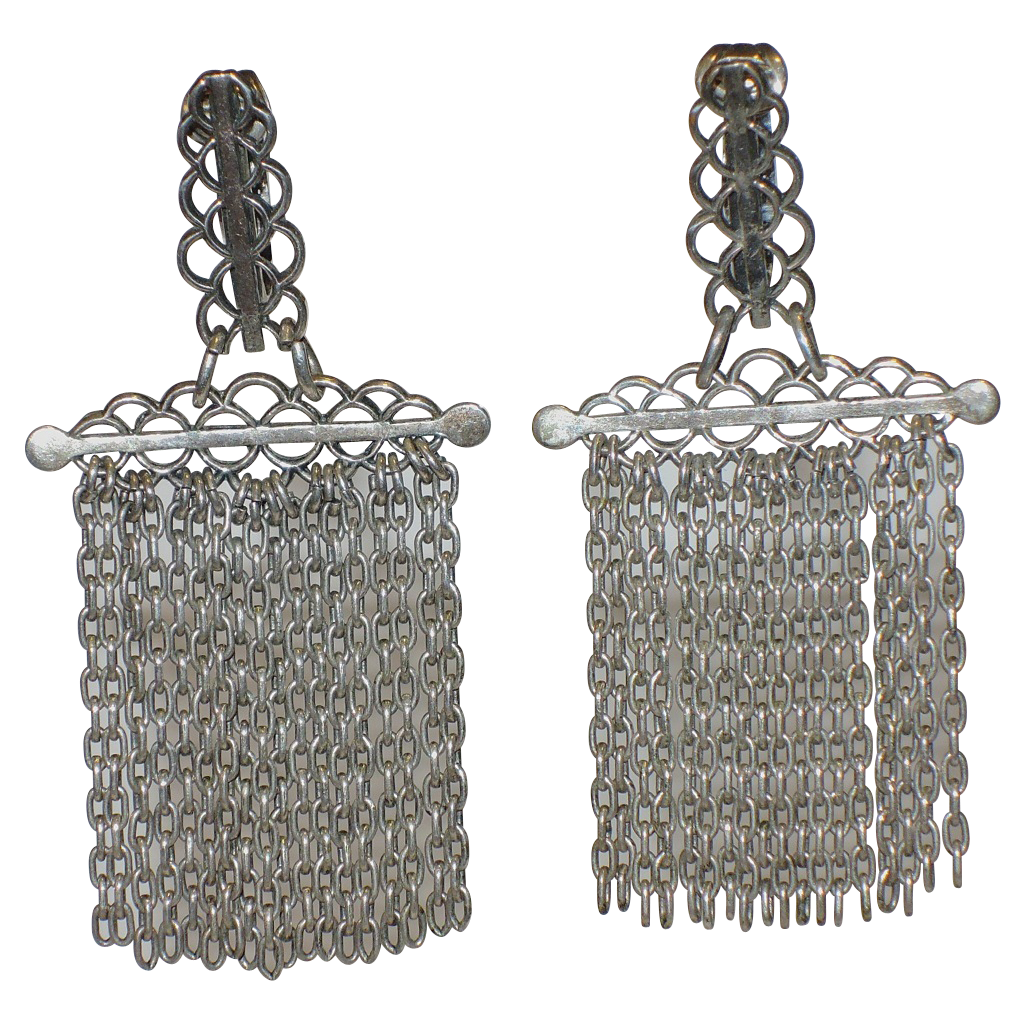 RARE Napier 1950's Medieval Gothic Revival Silver Plate Chain Drop Earrings