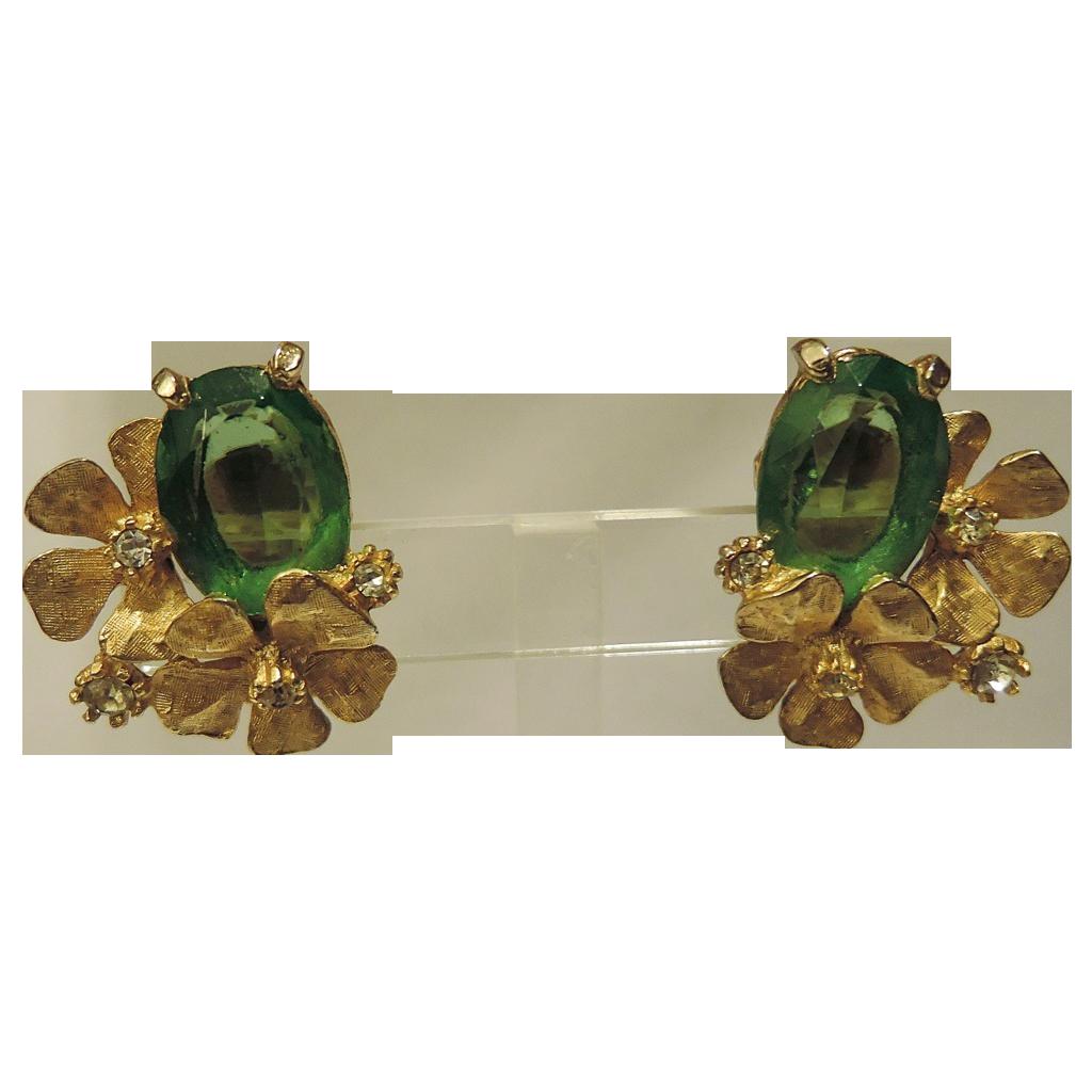 ART signed 3D Dogwood, Green Glass & Rhinestone Earrings ~ RARE