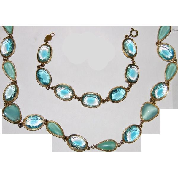 """Accessocraft N.Y.C. Aqua Givre & Satin Glass 31"""" Sautoir Necklace & Bracelet"""