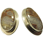 Mid Century Modern Geode Rock Sterling Silver Modernist Oval Pierced Earrings