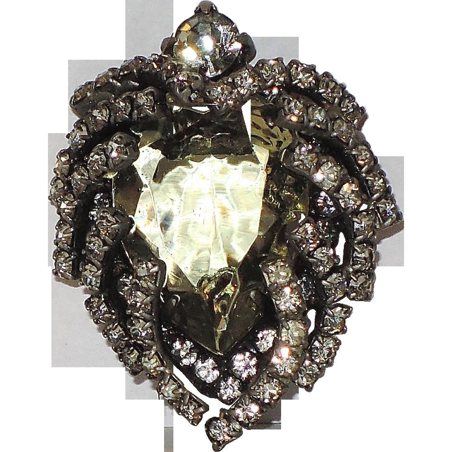 RARE Castlecliff 1950's Green Glass, Rhinestone Heart Brooch