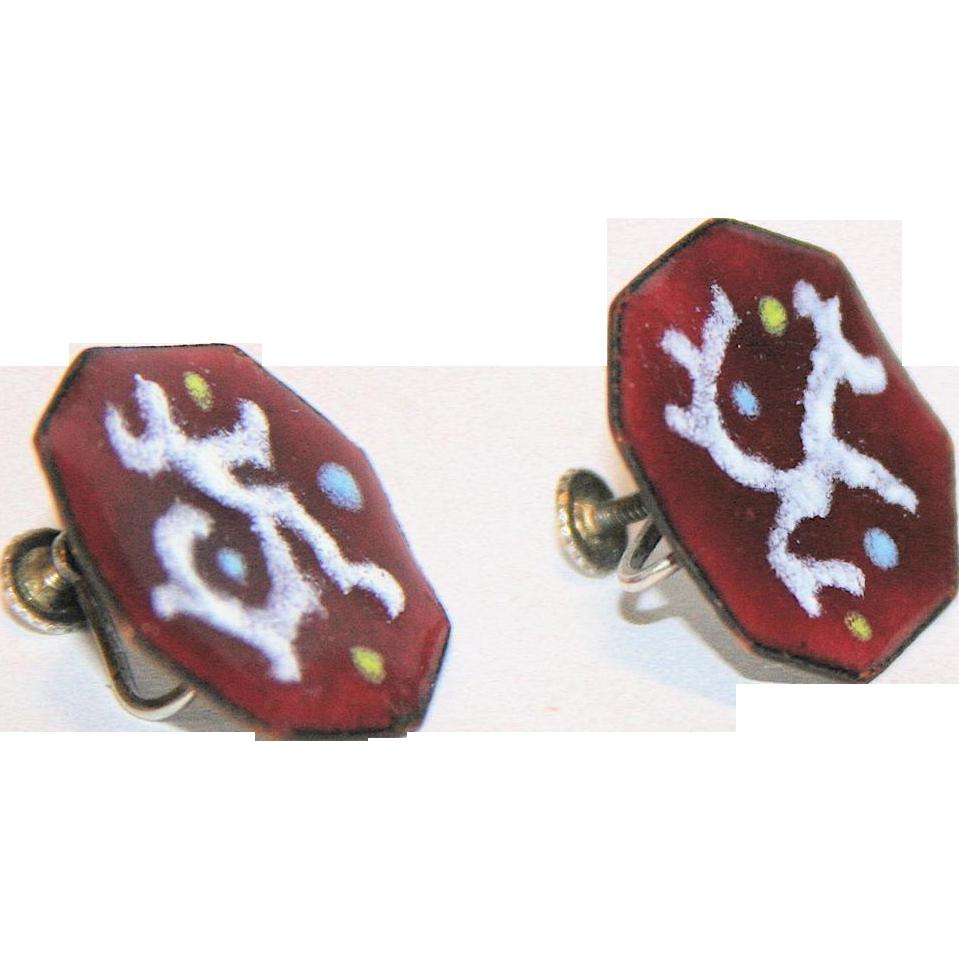 Mid Century Modern Sterling Red Enamel Octagon Earrings