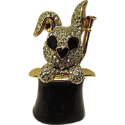 Rabbit in a Magic Top Hat & Wand Brooch