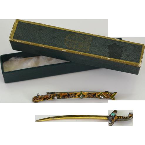 Victorian Antique Gilt Sword & Scabbard Pin ~ Genuine Jade & Pearl