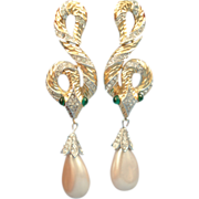 SCARCE Trifari 1960 Garden of Eden Snake Earrings, Alfred Philippe