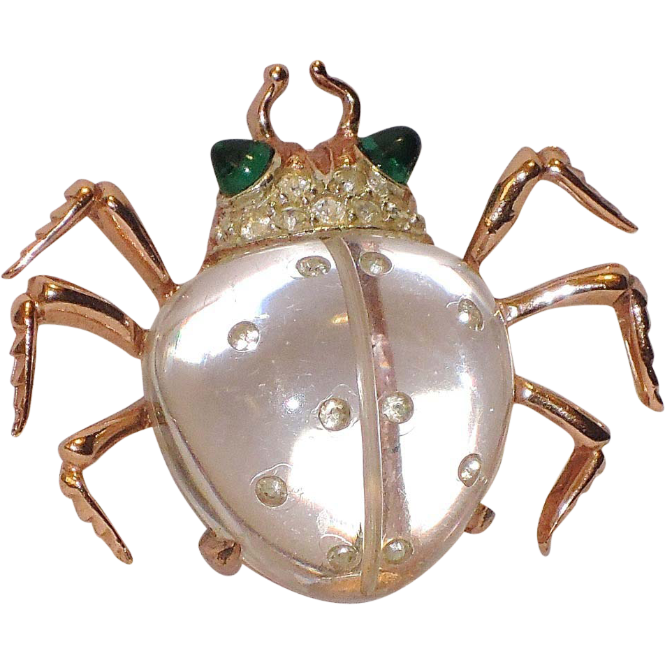 Coro 1944 Twinkling Twin Beetle Jelly Belly Sterling Dress Clip, Patented Book Piece