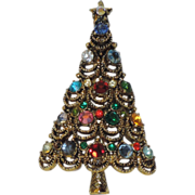 Pakula Signed Crystal Christmas Tree Pin ~ Book Piece