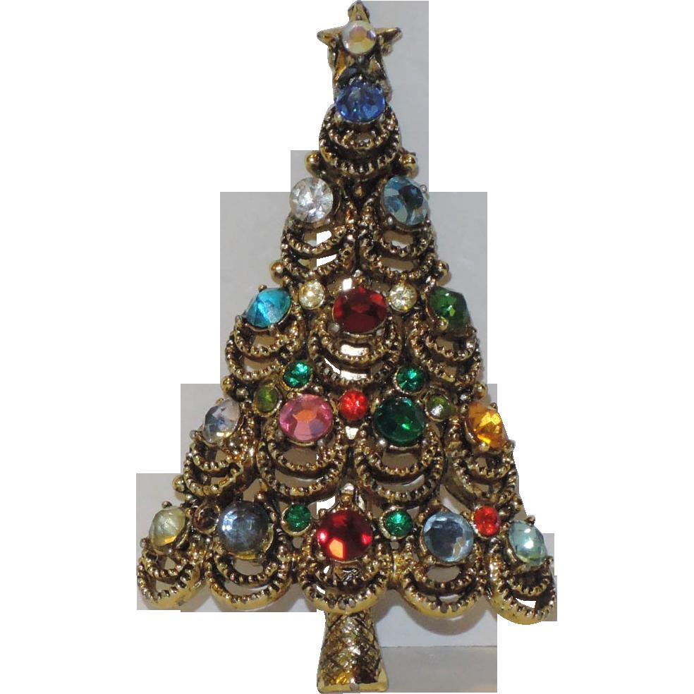 Pakula Signed Crystal Christmas Tree Pin ~ Book Piece