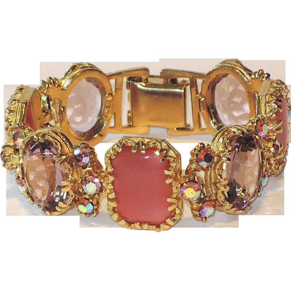 ART Signed 1960's Pink Satin & Purple Glass Link Bracelet