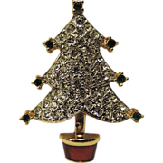 Carolee Pave Rhinestone Christmas Tree Pin ~ RARE Book Piece