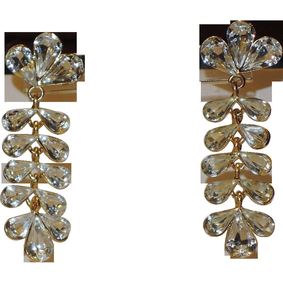 Napier 1980's Crystal Chandelier Earrings ~ Book Piece