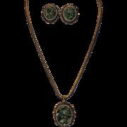 Late 1960's Genuine Jade Pendant Necklace & Earring Set