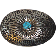 Navajo MJ Turquoise & Sterling Silver Belt Buckle, Late 1960's